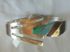 Silver 925 Mexico Hinged Bangle with Turquoise Decoration VERY NICE