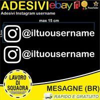 Kit 2 Adesivi Instagram username Nome Divertente Auto Adesivo Mood BIANCO