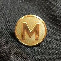 """Gold Plated Jacket 1"""" Button w/ M Waterbury Button Company Conn Superior Quality"""