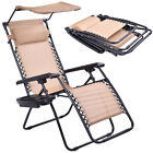 Beige Folding Recliner Zero Gravity Lounge Chair With Shade Canopy &Cup Holder