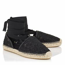 NIB Jimmy Choo Dolphin Flat Black Embroidered Lace Up Espadrille Flats 39.5 $475