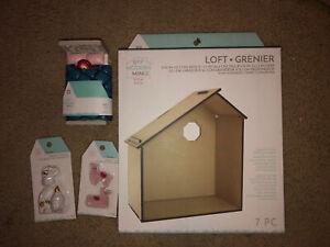diy dollhouse miniature kit LOT NIB wooden loft plus ceramic figures & bed