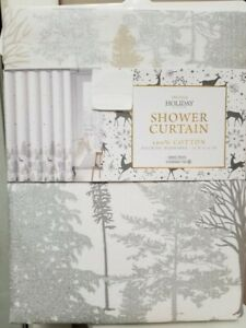 """Christmas Shower Fabric Curtain EnVogue Deer's Snowflakes Trees 72"""" X 72"""""""
