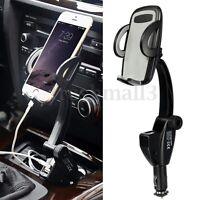 Universal Car Cigarette Lighter Mount Holder Cradle & Dual USB Charger For Phone