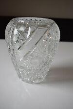 Bleikristall schwere Vase weiß florales Motiv