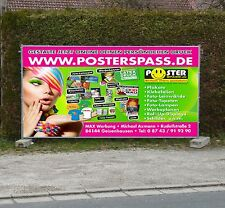 Werbebanner Werbeplane PVC-Plane Banner 140 x 50cm, Druck u. Ösen, wetterfest