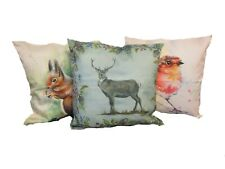 Soft Linen Cushion 45x45cm Choose Cover Only or Filled Cushion Country Animals