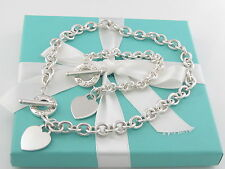 Auth Tiffany & Co Silver Heart Toggle Bracelet Necklace Set Box Pouch Ribbon