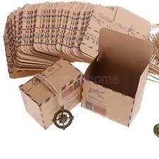 50pcs Vintage Via Air Mail Post Gift Box Brown Kraft Paper Party Favor Boxes