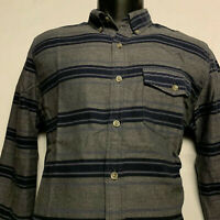 J. CREW Men's Long Sleeve Brushed Twill Shirt in Stripe (Grey, Blue) Size: Small