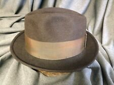 """Royal Beaver Cappelli Exclusive Brown Fedora Size 6 7/8 -3"""" Light Brown Ribbon"""
