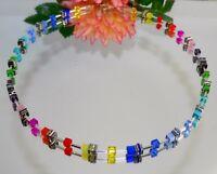 Würfelkette Halskette Cube Cat Eye Glas bunt rot grün blau gelb bunt Strass 502a