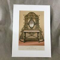 1862 Grande Antico Stampa Ghisa Tavolo Mobili Vittoriano Cromolitografia