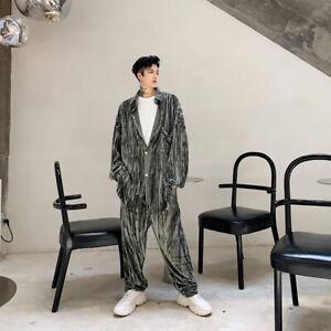2Pcs Mens Loose Lapel Collar Long Sleeves Style Shiny Velvet Shirt Long Trousers