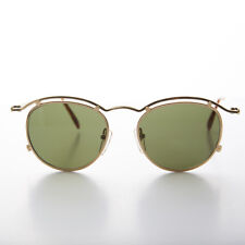 Round Gold Metal 90s Chic Steampunk Vintage Sunglasses -AXL
