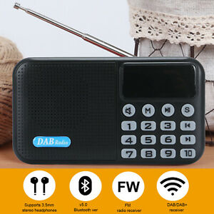Portable DAB /DAB+ Radio Digital FM Rechargeable Bluetooth Battery Music Player