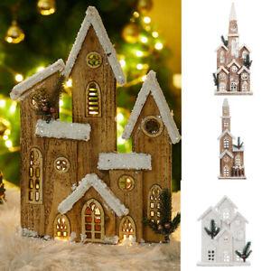 Christmas Luminous Wood House LED Light up Cottage Snow Castle Xmas Table Decor