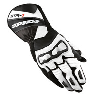 Spidi Str-1 Mens Motorcycle Riding Gloves - White/Black - Sz Lg