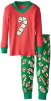 Sara's Prints Unisex Baby Long John Pajamas, Christmas Candy, 12M