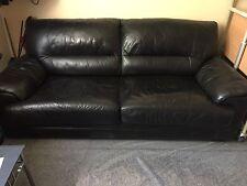 3 posti divano letto in pelle nera