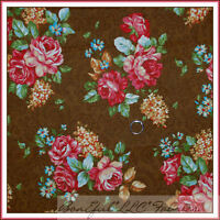 BonEful Fabric FQ Cotton Quilt VTG Brown Flower Rose Paisley Shabby Chic Cottage
