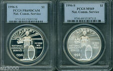 New listing 1996-S Ncs National Community Service Silver Pcgs Ms69 & Pr69 Pf69 (2-Coins Set)