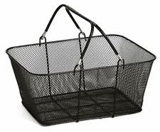 Perforated Metal Shopping Grocery Basket 6 Pack with Vinyl Handles - Black