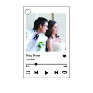 Personalized Rectangular Shaped Spotify Album Keychain Valentine Custom 2 sided