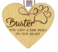 Personalised Oak Plaque You left a paw print on our heart Pet Remembrance Gift