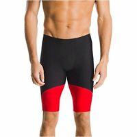 Speedo Mens Swimsuit Jammer Endurance- Splice Team, Black/Red Spark, Size 34 m7F