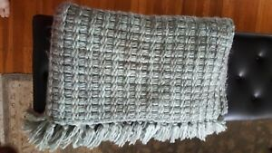 World Market Soft Knit Throw Blanket 50 x 60, Blue Green color