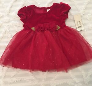 George Baby Girls Red Dress NWTO Christmas Velvet Tulle 3-6 Months