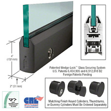 "CRL Black Powder Coat 4"" Tapered Door Rail With Lock for 1/2"" Glass - 35-3/4..."