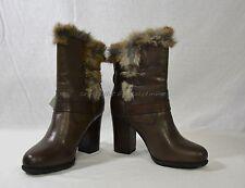 NIB Frye Penny Luxe Moto Leather & Real Fur Boots Women's Size 9.5M in Dark Grey