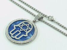 Hamsa Hand Star David Stainless Steel Chain Link Necklace Pendant Charm Woman CZ