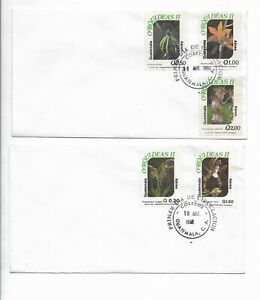 GUATEMALA 1996 ORCHIDS FLOWERS FLORA SET OF 5 VALUES ON 2 FIRST DAY COVER FDC