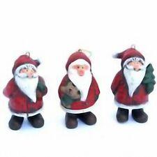 Hand Painted Christmas Tree Decorations Santa Claus x3