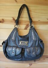 "Guess Dark Grey Woven Front Large Faux Leather Hobo Purse Hand Bag 23""x 17""x10"""