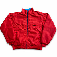 80s Patagonia Teal Fleece Lined Red Nylon Bomber Jacket USA Made VTG Size M/L