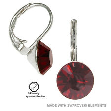 8mm swarovski elements Pendientes en Color Granate Rojo