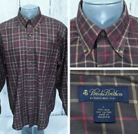 BROOKS BROTHERS L Large Long Sleeve Shirt Button Down Brown Beige Red Plaid