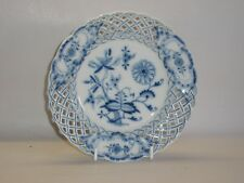 "Meissen "" Onion Pattern "" reticulated side plate. Crossed sword marks."