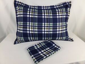 2 Navy White Green Yellow Madras Plaid STANDARD PILLOW SHAMS Twin Queen Covers