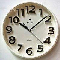 34cm Silent Round Wall Mountable Quartz Analogue Clock - White Frame