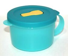 Tupperware CrystalWave Soup Mug 2 Cup Container Microwave Safe Aqua Blue Yellow