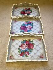 Large Set Of 3 Wooden Serving Trays Shabby Chic Kitchen Tray Vintage Decor Xmas