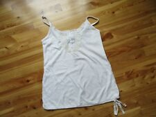 American Eagle S White/Ivory 4 Buttons Lace Spaghetti Straps Tank Top NWT Cute!