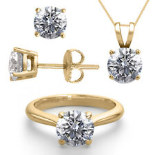 14K Yellow Gold Jewelry SET 3.0CTW Natural Diamond Ring, Earrings, N... Lot 4392