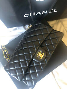 CHANEL Quilted Classic Double Flap Chain Shoulder Bag Black