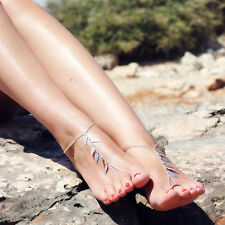 Silver leaf Barefoot Anklet Chain Ankle Bracelet Sandal Beach Foot Jewelry